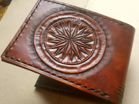Compass, back of galleon ship leather wallet by Bubblypies