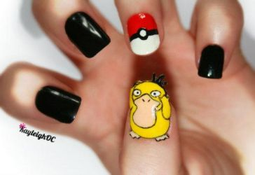 Pokemon Nail Art - Psyduck by KayleighOC