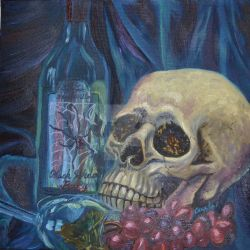 Wine and Macabre Painting by gothicpoizonivy