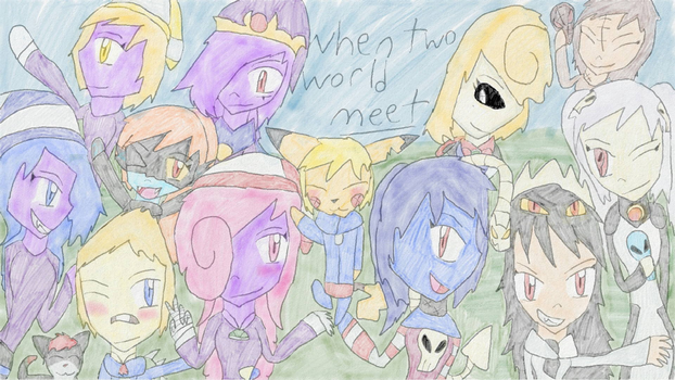 When two worlds meet group picture by pikagirl111