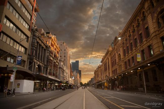 Flinders Street at Sunrise by Grayda