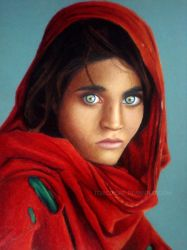 The Afghan Girl Colorpencil by toxicdesire
