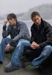 A painting of Sam and Dean Winchester by jht888