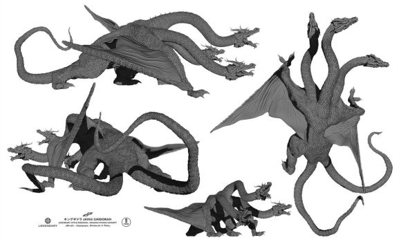 zGHIDORAH dragon alternate views by dopepope