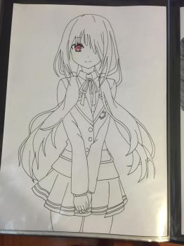 Kurumi from Date alive. wrong side of copic paper by KurehaShido