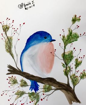 Watercolor - Bluebird by emi1296