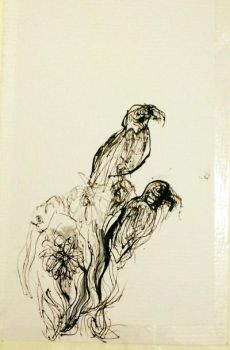 bird study with ink 2017 by CharaSweetCheeks