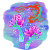 Lily Space Fish Galaxy Sticker by wolfbanefoxglove