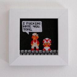Mario and Toad Cross Stitch by TK421LovesYou