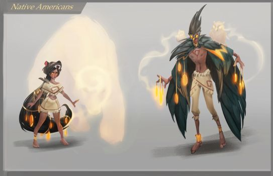 Native Americans in magic world by Nieris