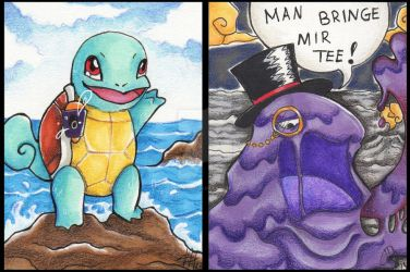 Squirtle and Gentlemuk by FeythArtanis