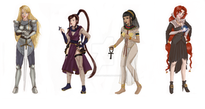 Team of Female chars_Colored by lapetite-paulette