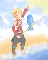 Rune factory 3 Fishing contest Micah by Misaka-Chan