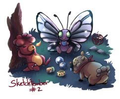 Magby, Butterfree and Bidoof.