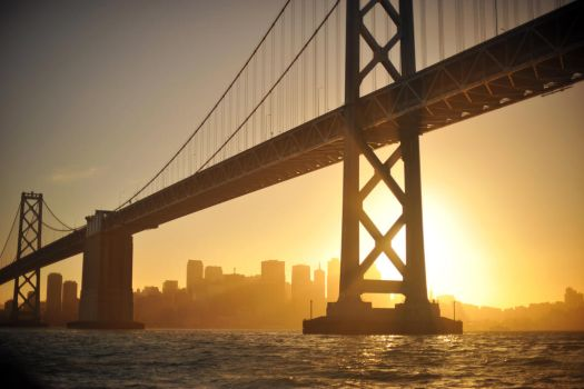 Bay Bridge at Sunset by AethertechIndustries