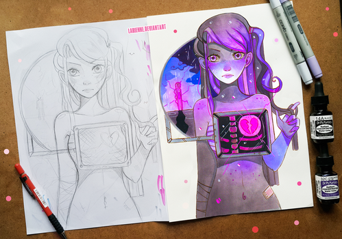 +Surreal Girl - Concept and Finished Art+ by larienne