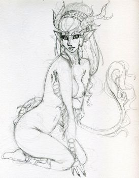 qilin pinup sketch by tearoomengland