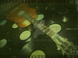 guitar and disks retro style by s3xyyy