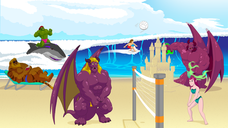 Primal Warrior - Family at the Beach v 2.0 by RetroUniverseArt