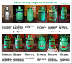 The Process: Painting Vintage Sinclair Tin Can by Kurisiti