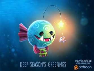 Daily Paint 1490. Deep Season's Greetings by Cryptid-Creations