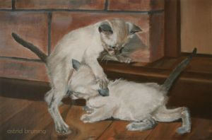 We are Siamese,  - OIL PAINTING by AstridBruning