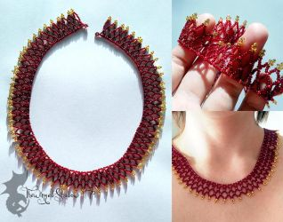 Red and Gold Net Necklace by TheWingedShadow