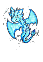 Twitch request - Chibi blue dragon by Emme-Gray