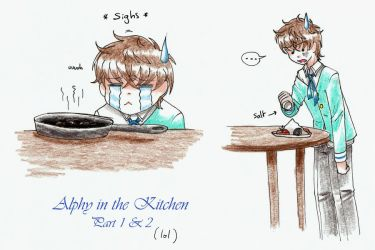 PA: Alphy trying to cook by KrayComics