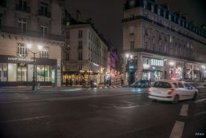 Paris the city of lights - expecting the night bus by Rikitza