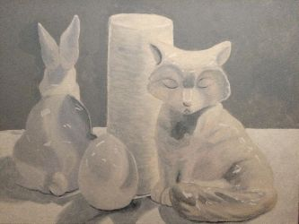 The Fox and the Rabbit (white still life) by blueshywolf124