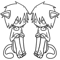 Neko L and BB Lineart by xBeyondBirthday