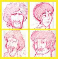 Yellow Submarine sketches by basakward