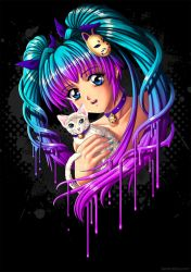Anime Girl with Kitty by Bomu