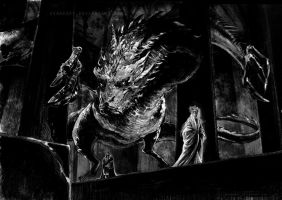 Thorin, Thranduil and the dragon by evankart