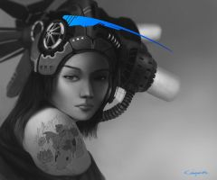 Koi tattoo + cute chick + headgear = awesome by Meteorskies