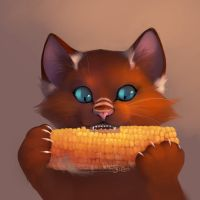 Kissa and corn by Orphen-Sirius