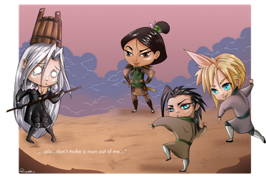 Sephy VS Mulan, Zack and Cloud by pirastro
