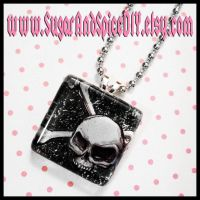 Skull Crossbones Glass Charm by wickedland