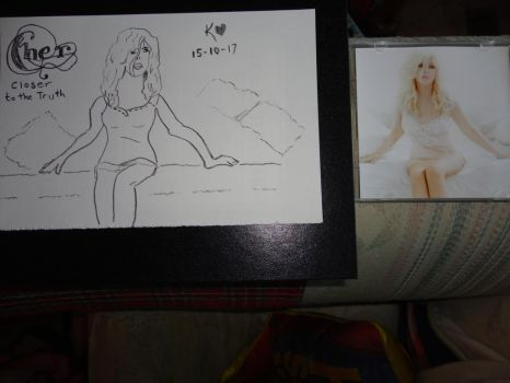 Cher 'Closer To The Truth' CD booklet sketch by Keithzdarkside