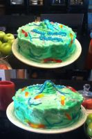 Worm and Algee Birthday Cake by OrandeArt