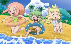 Fun on the beach by pink-hudy