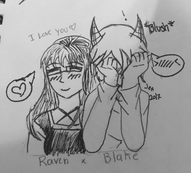 Raven and Blake  by Pinkwolfly