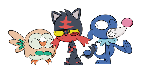 Pokemon Moon and Sun Starters by mexican64