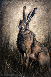 Brown Hare original painting on canvas by shmeeden