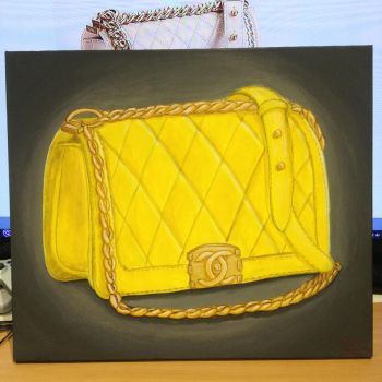 Chanel bag painting on canvas by dolgopolovki