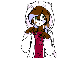 Cari in a cat hoodie by MintyMagic74