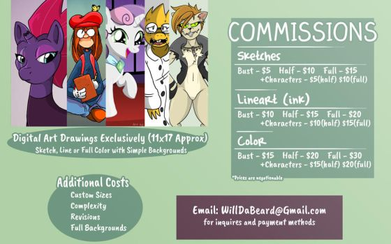 Commissions Are Open! (Pricing Guide) by WillDaBeard