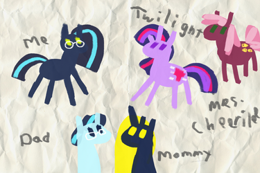 A child's drawing by MoonGazerThePony