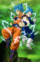 Goku and Vegeta Vjump - Universe Survival by SenniN-GL-54